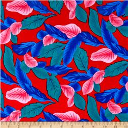 Rayon Challis Dreamer Tropical Leaf Red