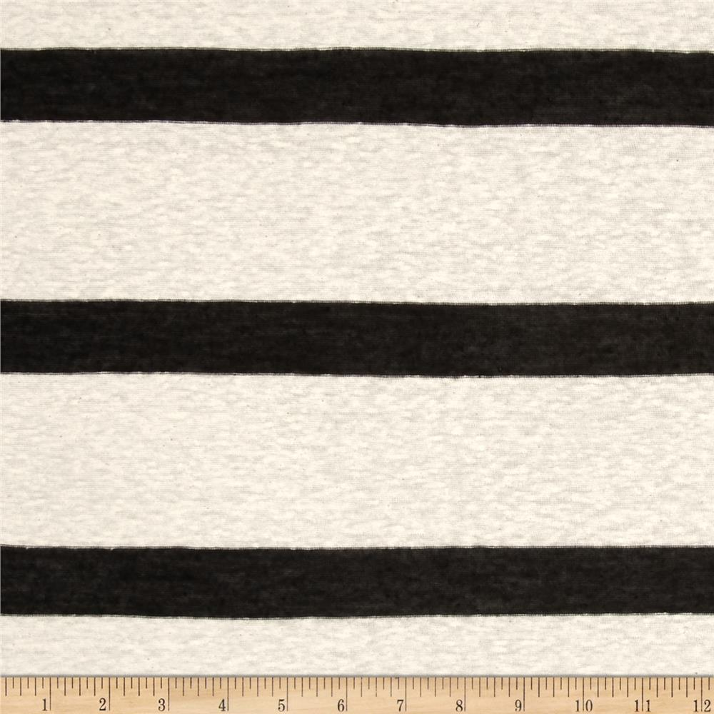 Distressed Slub Tissue Jersey Knit Stripes Black/Cream