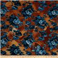 Designer Stretch ITY Knit Floral Blue/Rust