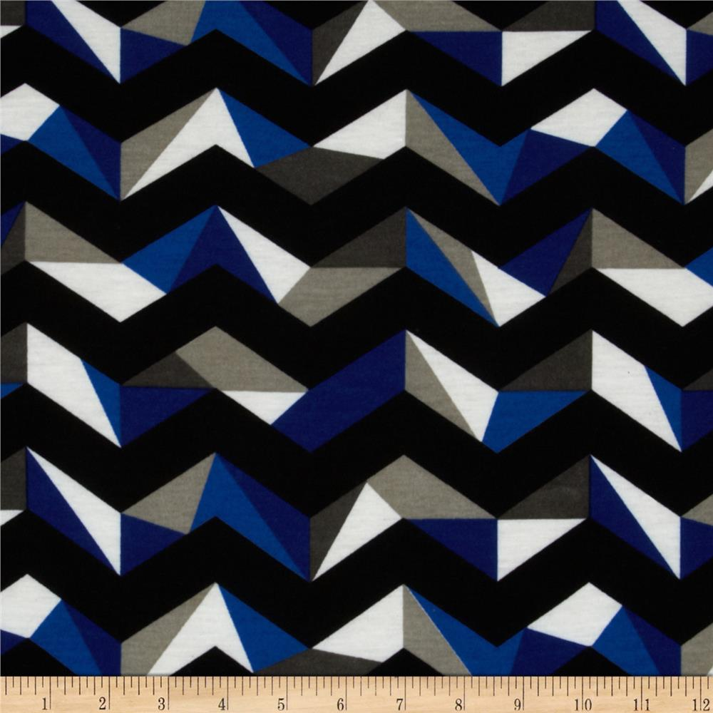 Fashionista Jersey Knit Large Geo Chevron Black/Blue