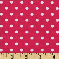 Aunt Polly's Flannel Small Polka Dot Hot Pink/White