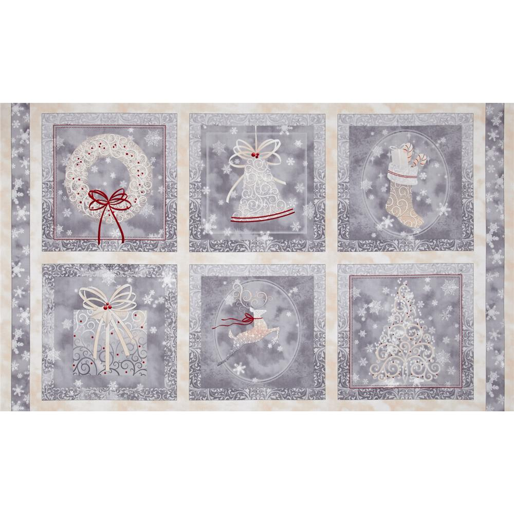 Holiday Elegance Picture Patches Panel Gray Fabric By The Yard