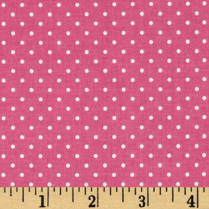 Riley Blake Swiss Dots Hot Pink/White