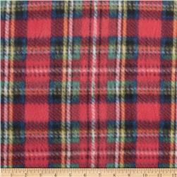 Printed Fleece Scottish Plaid Red