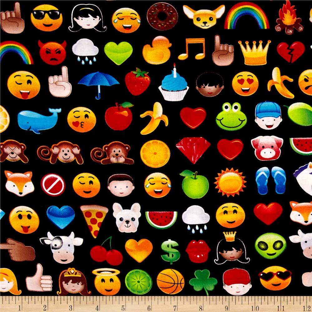 Timeless Treasures Colored Faux Emojis Black