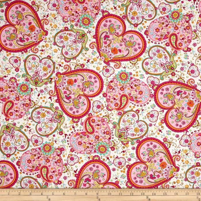 Timeless Treasures Sabrina Floral Hearts Cream