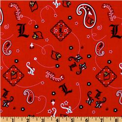 Collegiate Cotton Broadcloth University Of Louisville Bandana Red