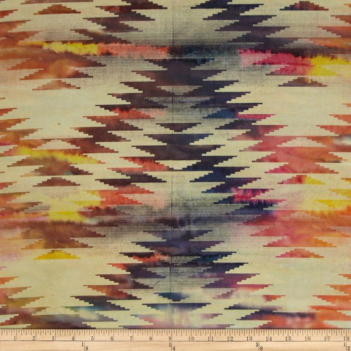 Indian Batik Chevron Plum/Fuchsia/Yellow