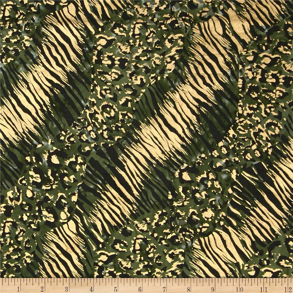 Indian Batik Urban Ethnic Animal Skin Metallic Green