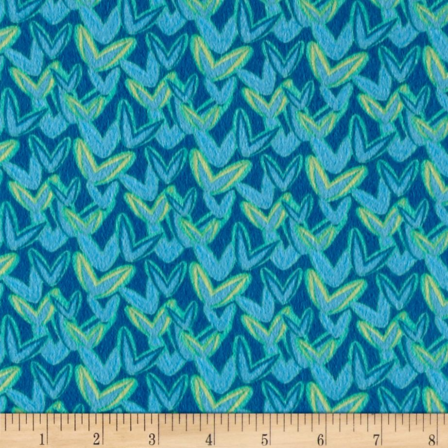 Intrigue Fancy Flannel Allover Turquoise Fabric By The Yard
