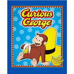 Curious George Hanging Out Panel Blue