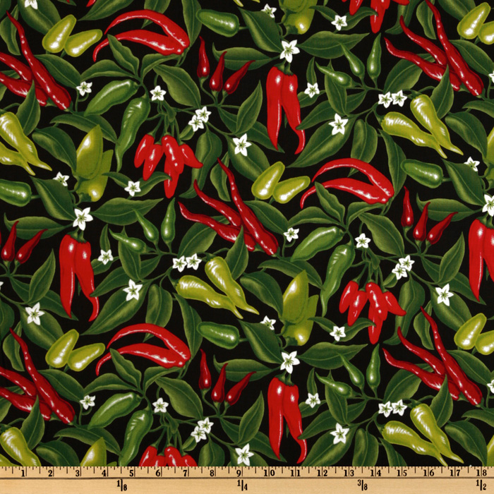 Image of Salsa Picante Red Hot Peppers Black Fabric