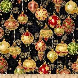 Kaufman Holiday Flourish Metallics Ornaments Black