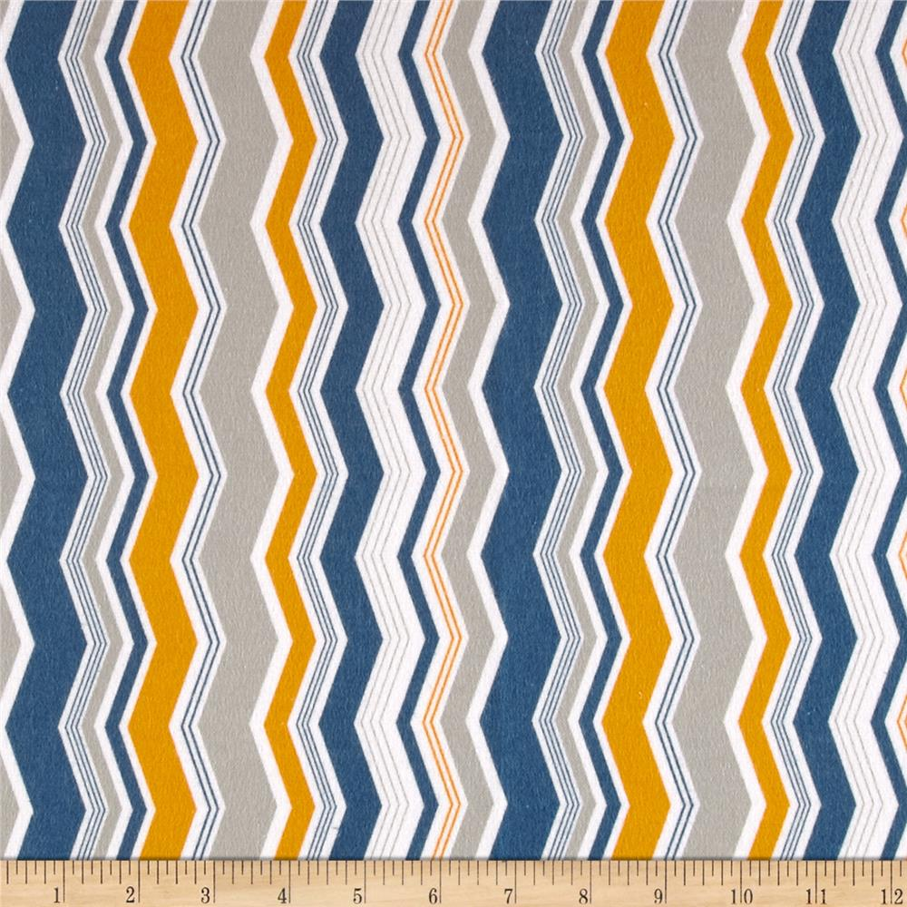 Riley Blake Little Ark Flannel Chevron Blue