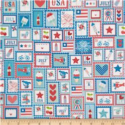 Riley Blake Star Spangled Patchwork Stripe Blue