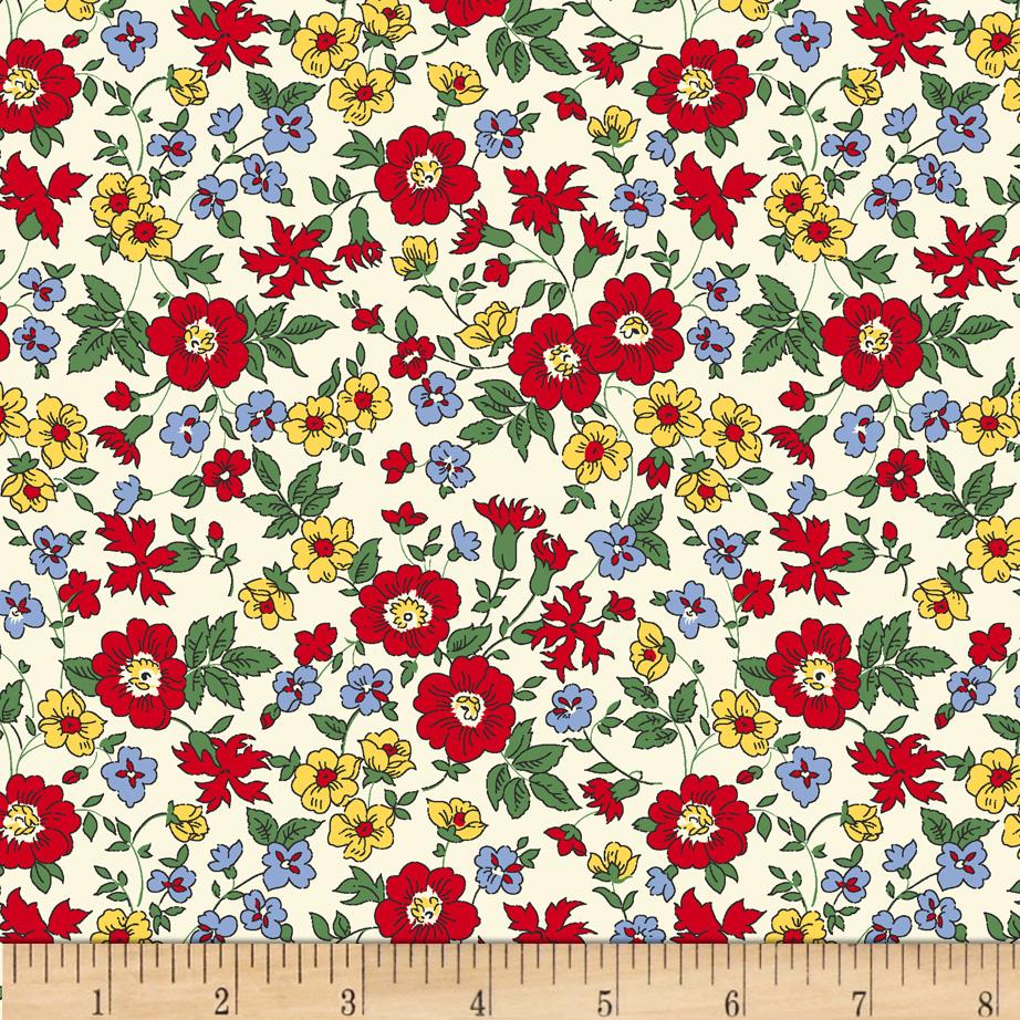 60'' Wide Quilt Backs Flower Garden Red