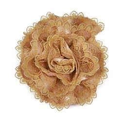 "3"" Rolled Lacy Flower Pin And Hairclip Gold"