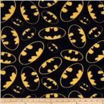 Printed Fleece Tossed Batman Symbols Black