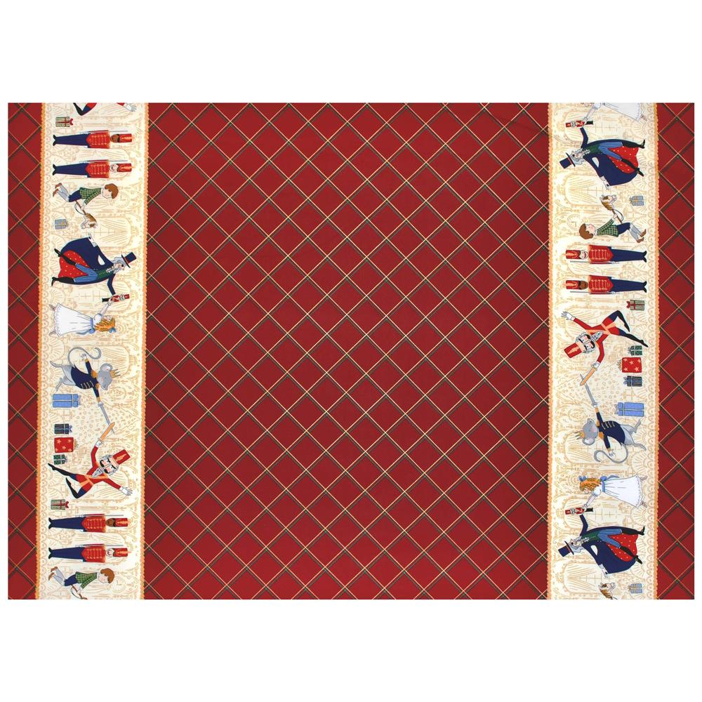 Michael Miller Nutcracker Metallic Act 1 Double Border Burgundy Fabric