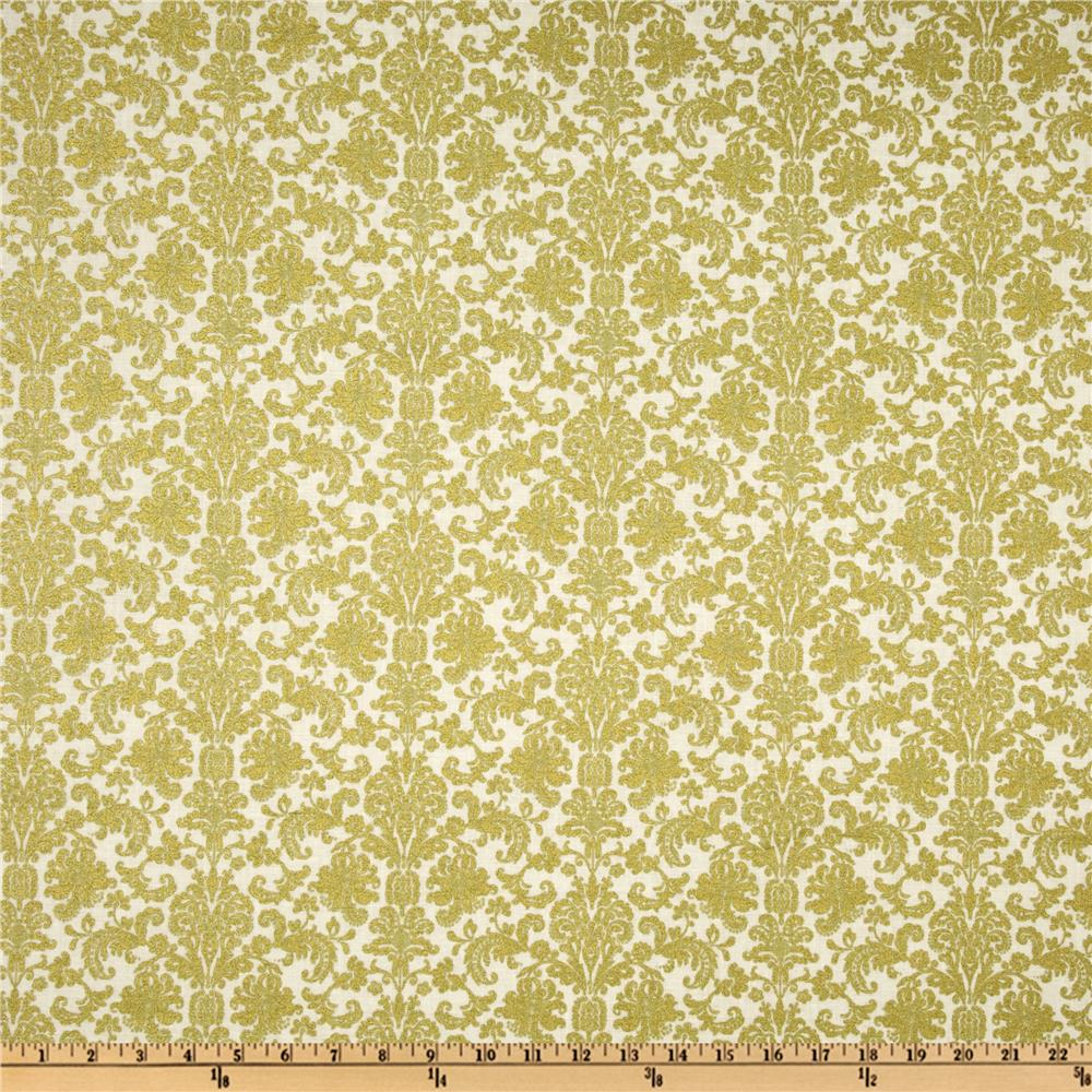 Home For The Holidays Metallic Damask Ivory