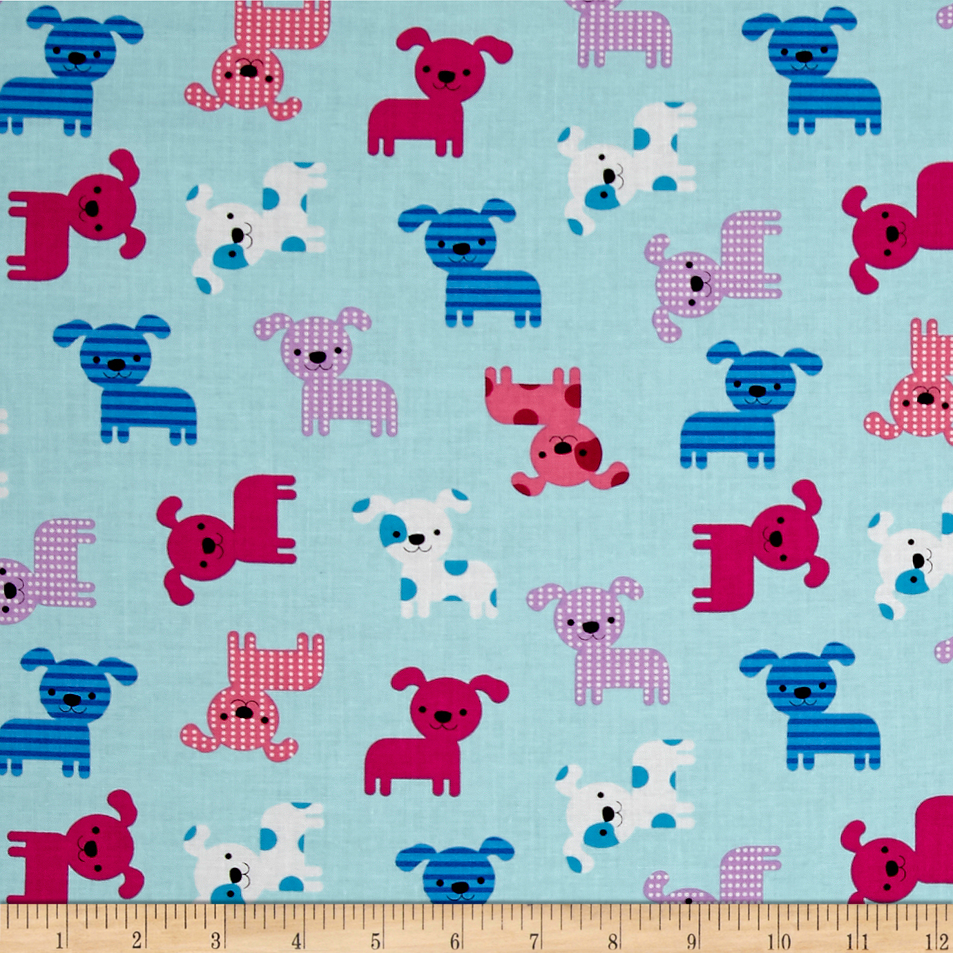 Kaufman Urban Zoology Little Dogs Aqua Fabric