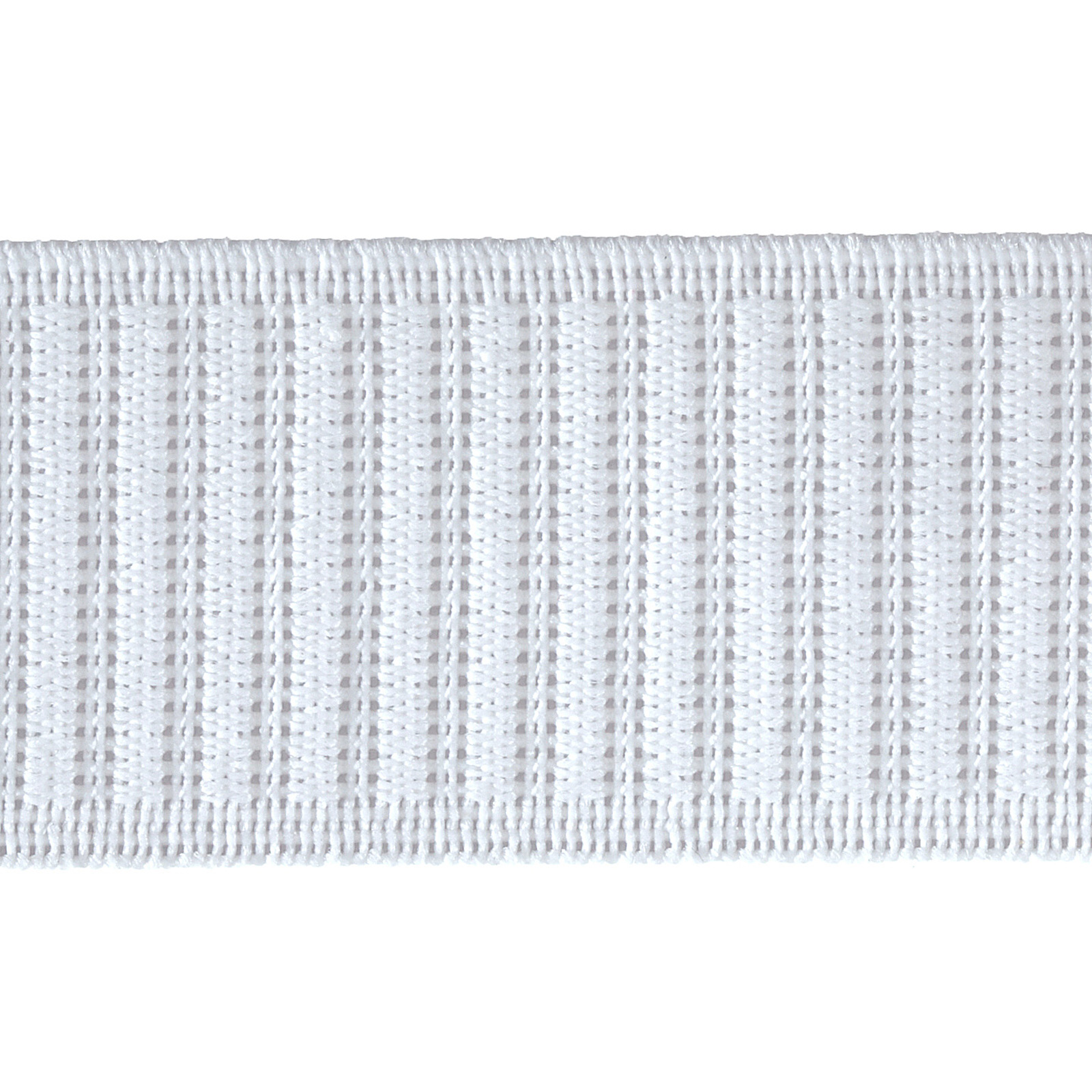 1-1/2'' Non-Roll Ribbed Elastic White - By the