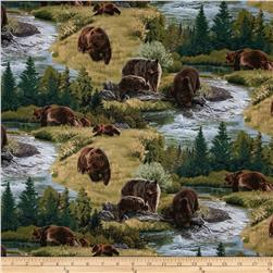 A Wild Life Allover Brown Bears Green Fabric