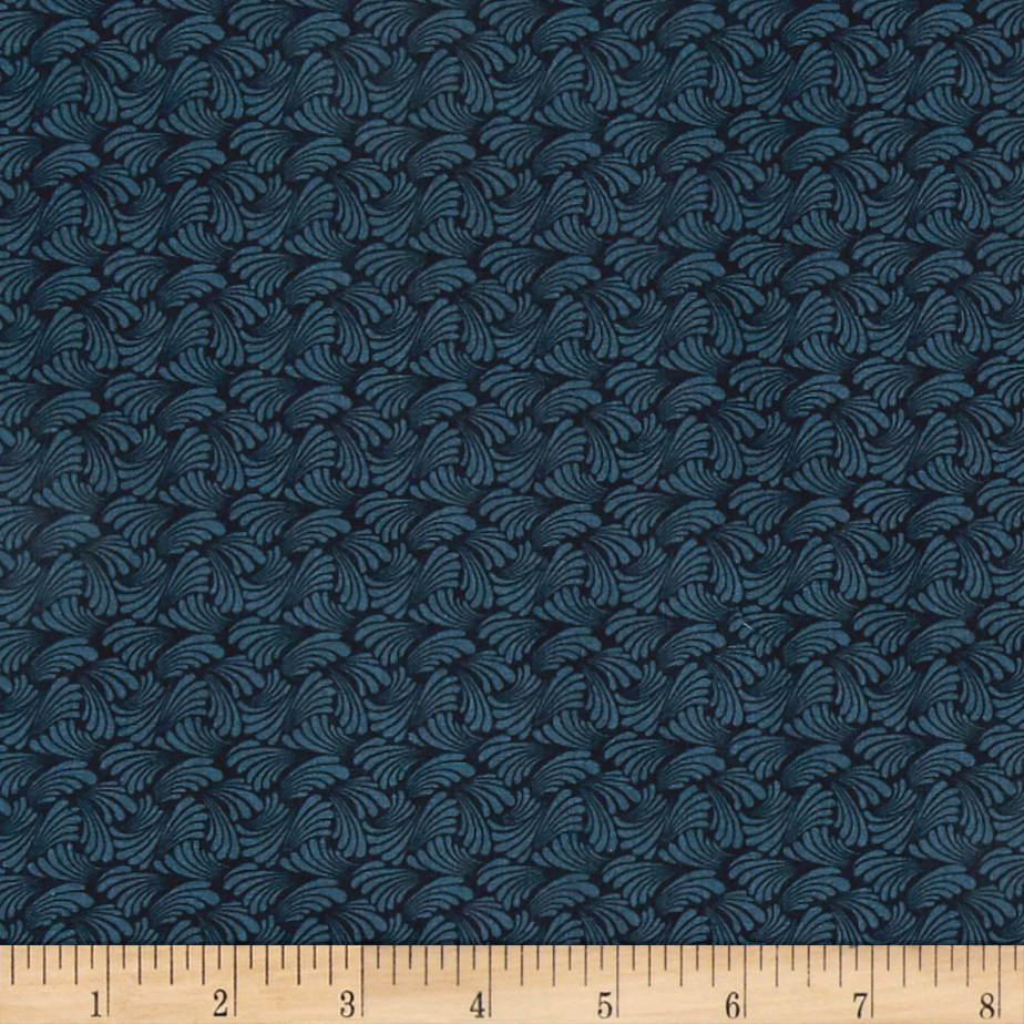 Butterfly Fandango Swirling Texture Dark Teal Metallic Fabric