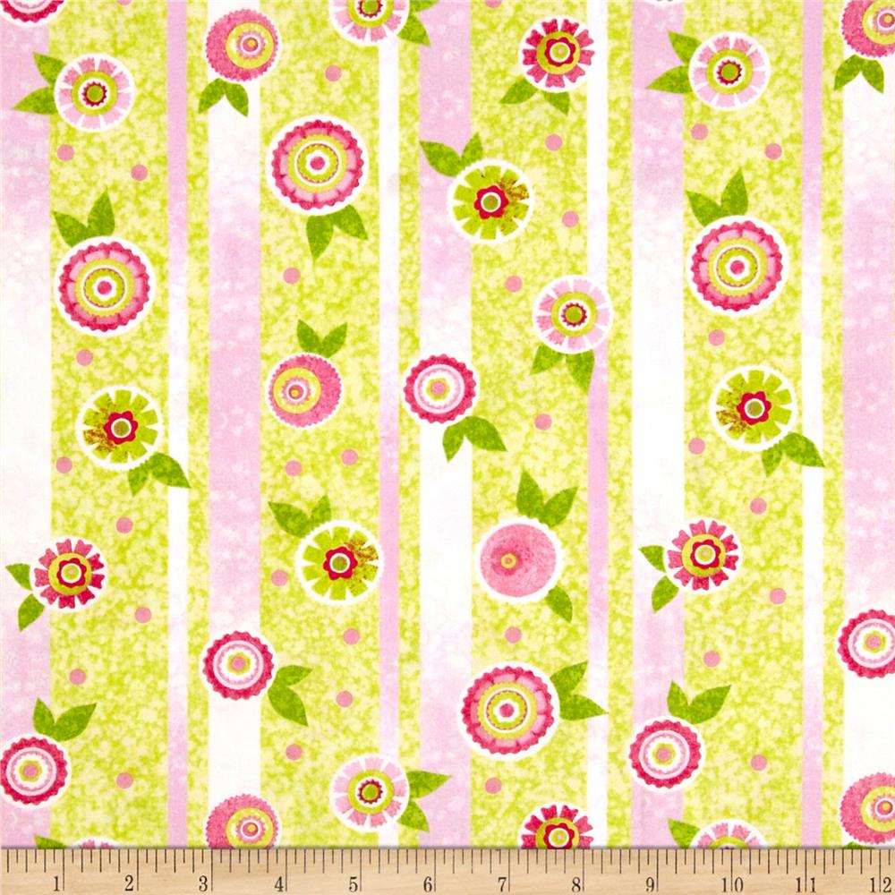 The Garden Club Flower Stripe Pink/Green
