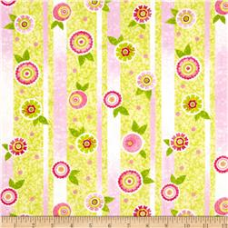 The Garden Club Flower Stripe Pink/Green Fabric