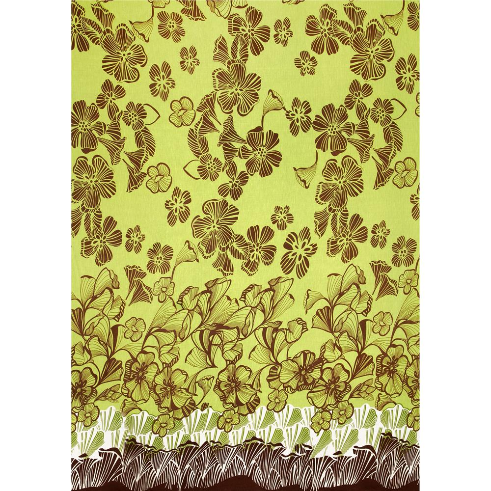 Stretch Rayon Jersey Knit Tropical Floral Lime/Brown