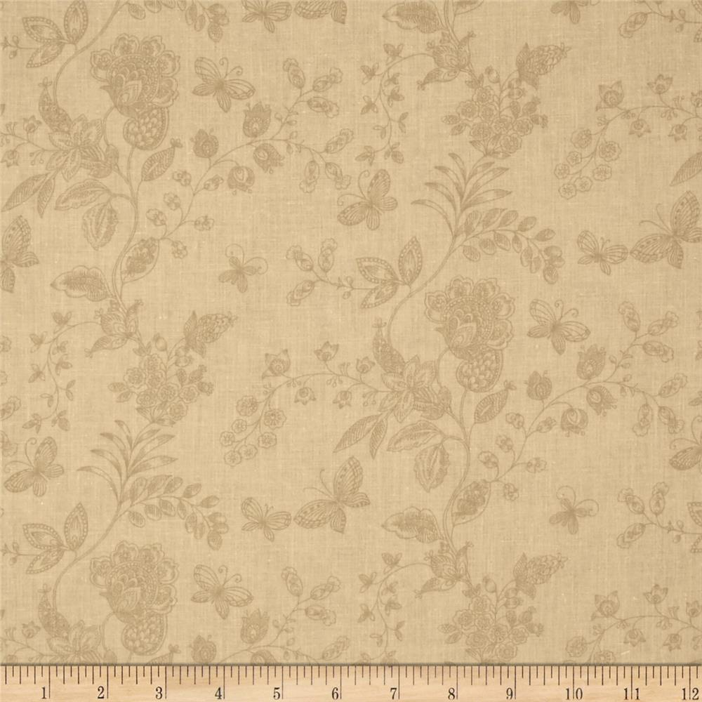 "108"" Wide Quilt Back Floral Butterfly Cream"