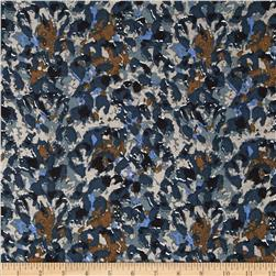 Cotton Lawn Print Abstract Khaki/Morning Blue/Golden Brown Fabric