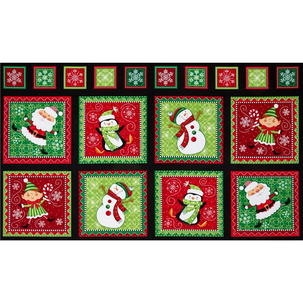 Holly Jollies Picture Patches Black Fabric