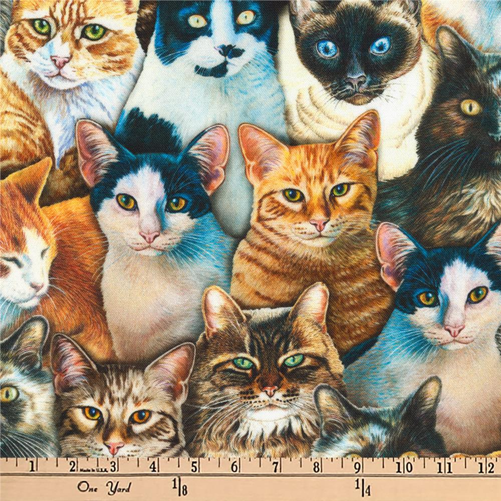 Kaufman Whiskers and Tails Digital Prints Cats Multi