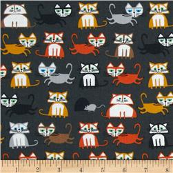 Happy Drawing Too Organic Cats Grey Fabric