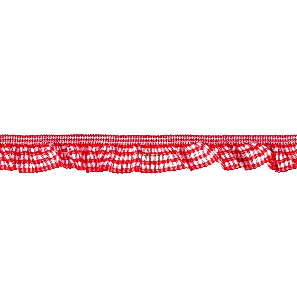 "3/4"" Stretch Gathered Gingham Trim Red"