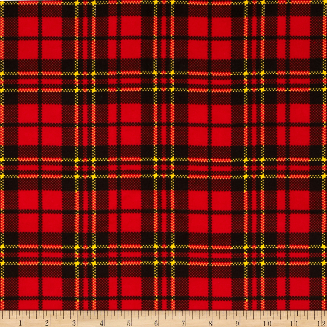 Flannel Scottie Plaid Red Fabric