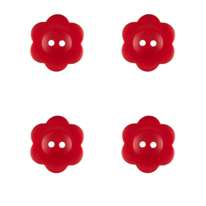 "Riley Blake Sew Together 1"" Flower Matte Button Red"