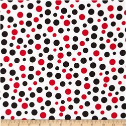Comfy Flannel Large Dots White/Black/Red Fabric