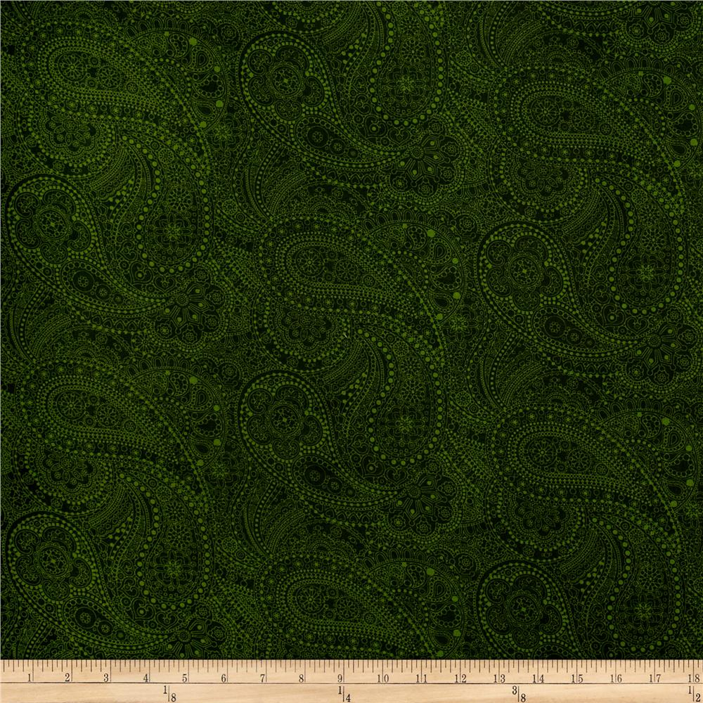 "108"" Wide Quilt Back Chelsea Dot Paisley Green"