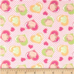 Flannel Prints Monkey Hearts Fuchsia Fabric