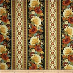 Timeless Treasures Kyoto Blossoms Metallic Peony Stripe Black