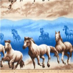 Fleece Print Horses Blue