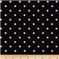 Stretch Poplin Dots Black/Pink