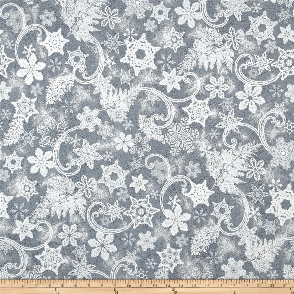 Kaufman Holiday Flourish Metallics Snowflakes Charcoal