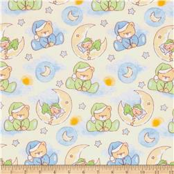 Bedtime Bears Sleepy Bear Dreams Flannel Cream/Multi