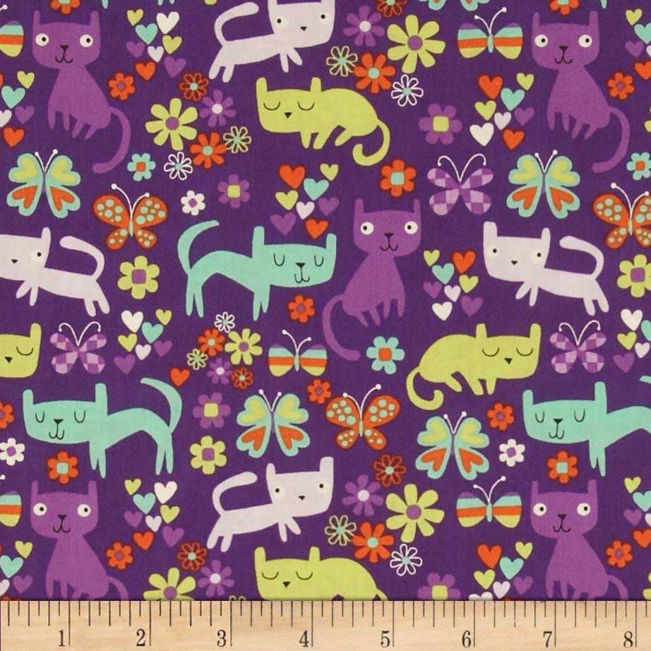 Timeless Treasures Cats Violet