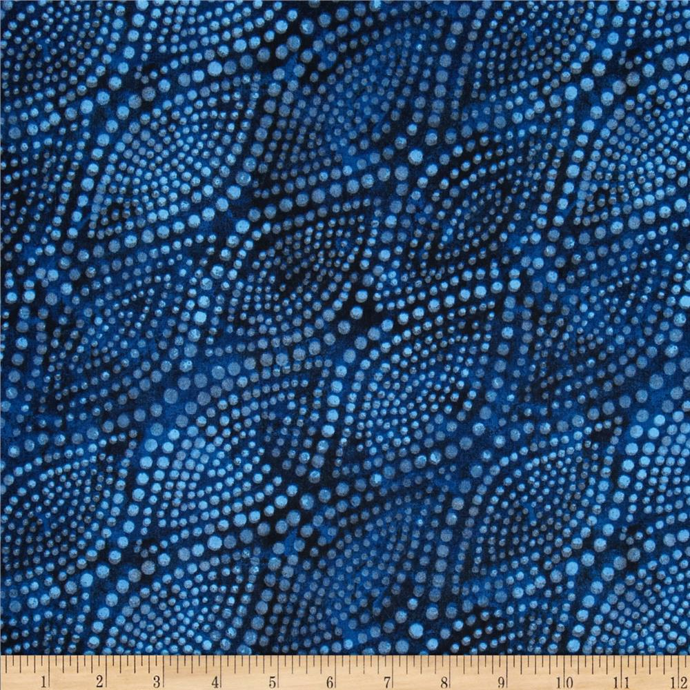 "108"" Wide Diagonal Dots Quilt  Back Navy"