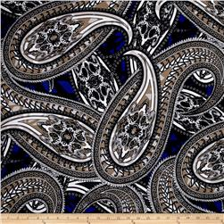 Liverpool Double Knit Paisley White/Khaki/Royal